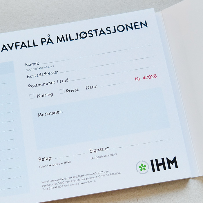 Kvitteringsblokker for IHM